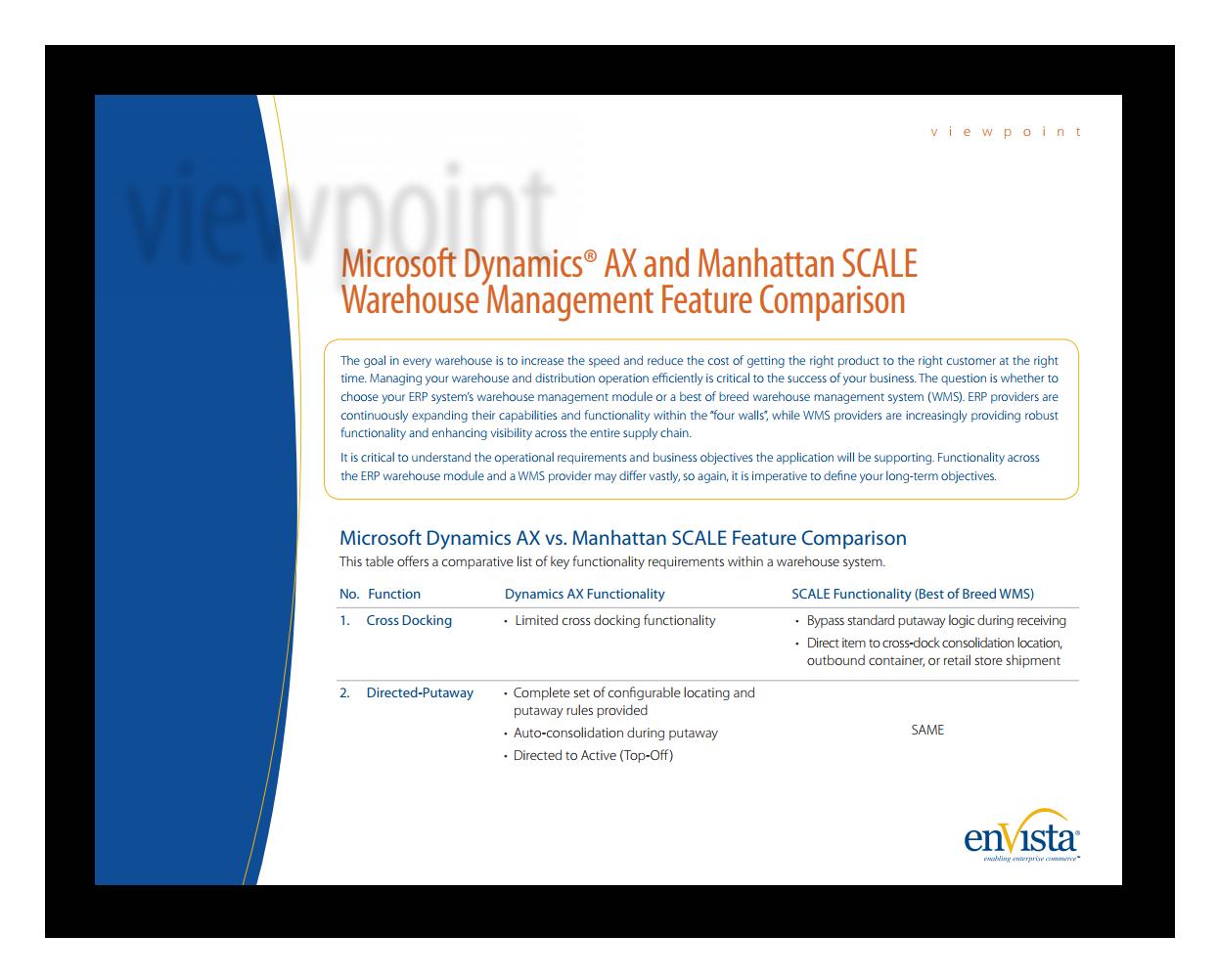 White Paper: Manhattan SCALE & Microsoft Dynamics AX Warehouse