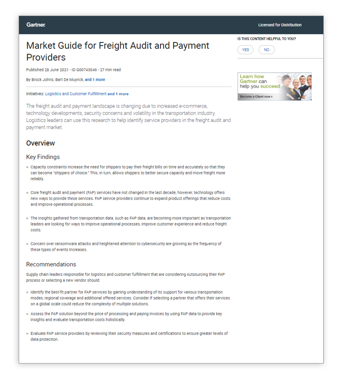 Market Guide for Freight Audit and Payment Providers Cover
